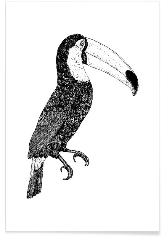 Art pour enfants, Noir & blanc, Toucans, Toco Bw affiche