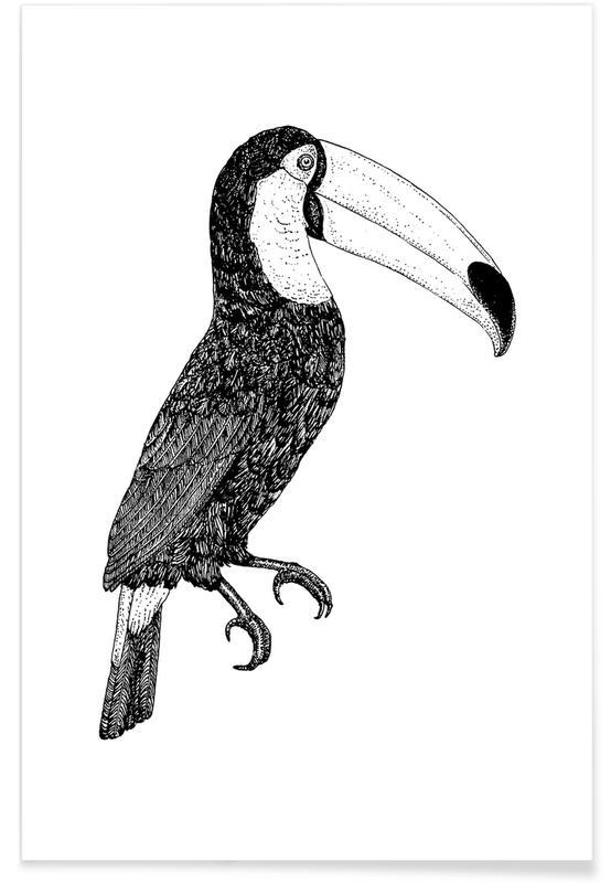 Zwart en wit, Kunst voor kinderen, Toekans, Toco Bw poster