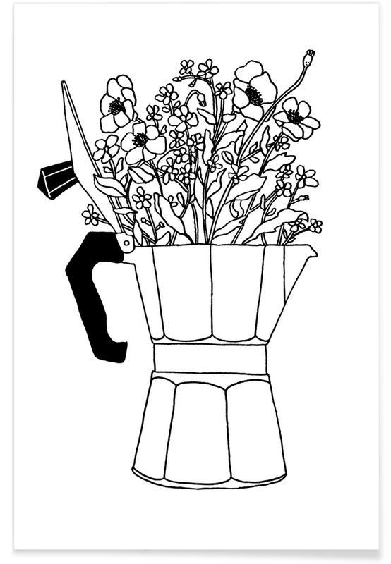 Black & White, Coffee, Moka Flowers Poster