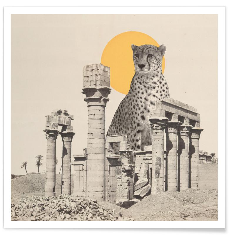 Architectural Details, Giant Cheetah in Ruins Poster