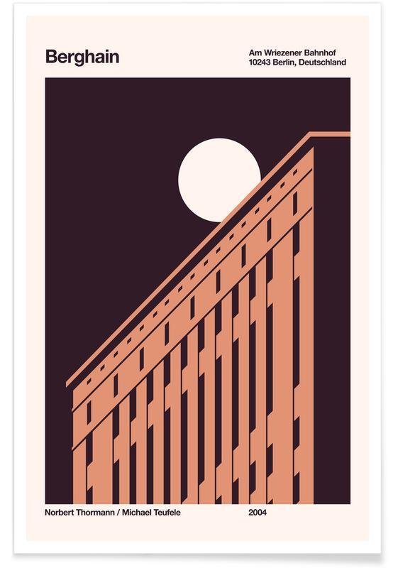 Moon, Berlin, Berghain Night Poster