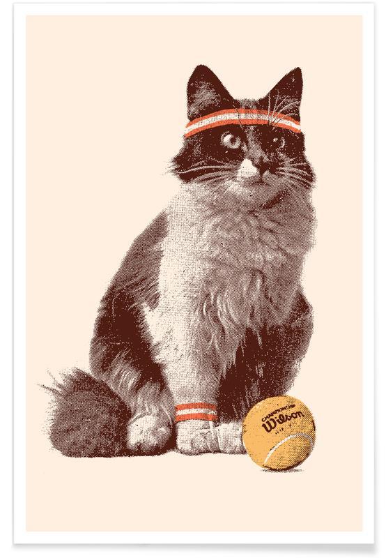 Tennis, Chats, Tennis Cat affiche