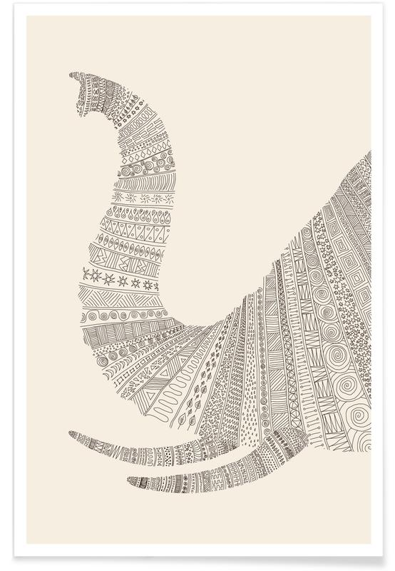 Noir & blanc, Éléphants, Elephant 01 affiche