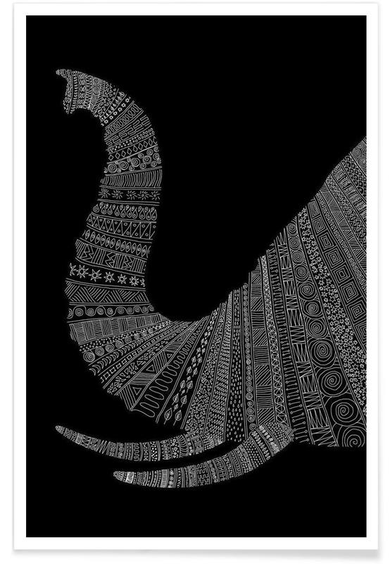 Noir & blanc, Éléphants, Elephant 02 affiche