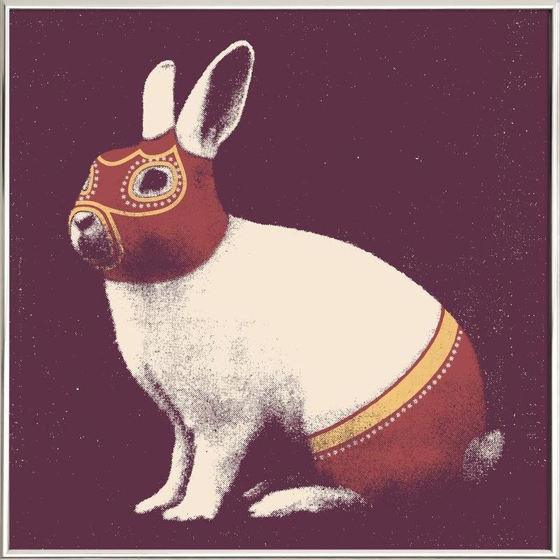 Lapin Catcheur (Rabbit Wrestler) Poster in Aluminium Frame