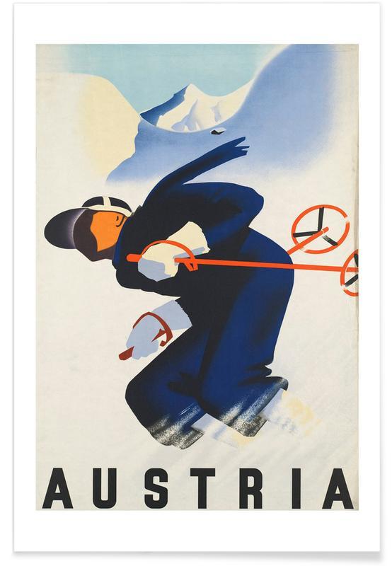 Voyages, Ski & snowboard, Vintage, Vintage ski en Autriche affiche