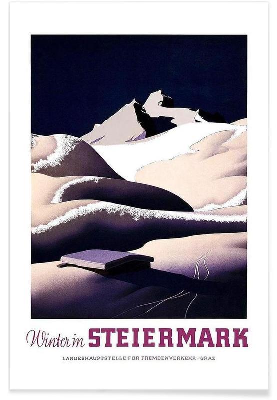 Voyages, Montagnes, Vintage, austria4 affiche