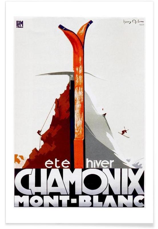 Ski & snowboard, Vintage France Chamoix affiche