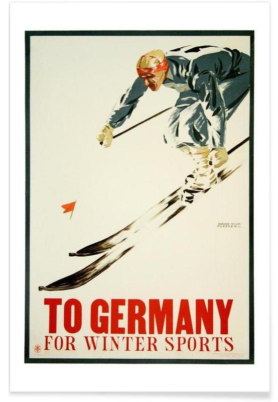 Voyages, Ski & snowboard, Vintage, germany1 affiche