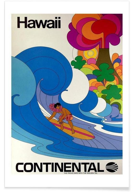 Voyages, Surf, Vintage, Hawaï Vintage affiche