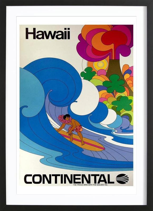 hawaii4 affiche sous cadre en bois