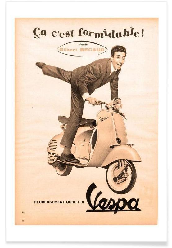 Motos, Vintage, scooter affiche