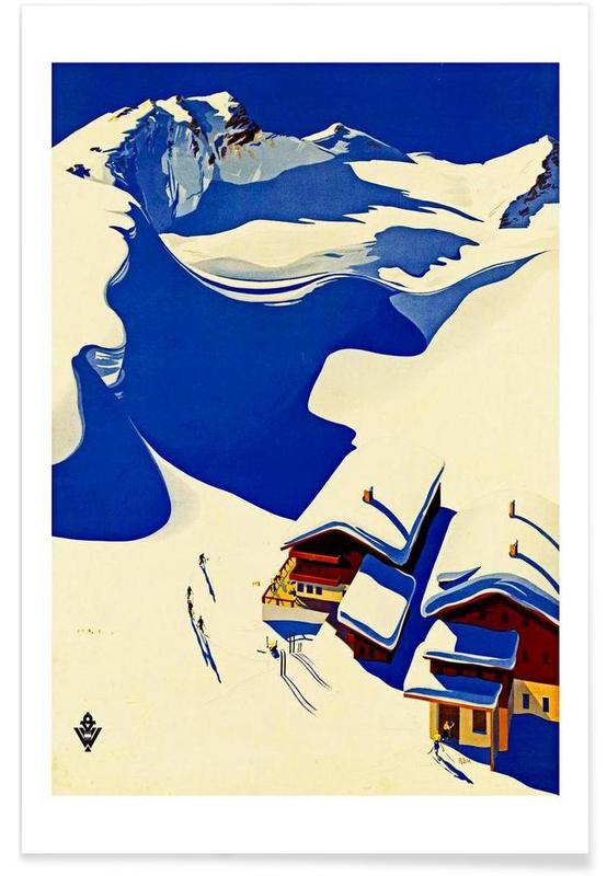 Mountains, skilodge Poster