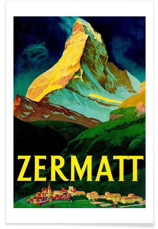 Vintage, Voyages, Vintage Suisse Zermatt affiche