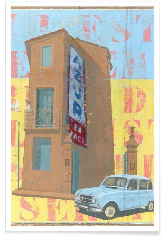 Détails architecturaux, Rétro, Azur affiche