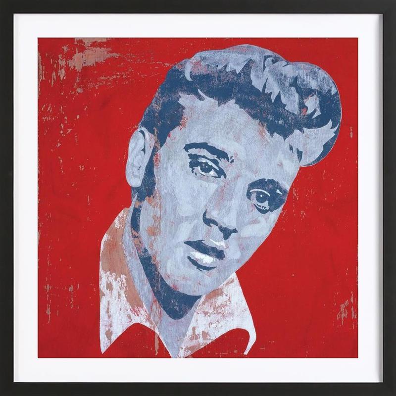 Elvis affiche sous cadre en bois