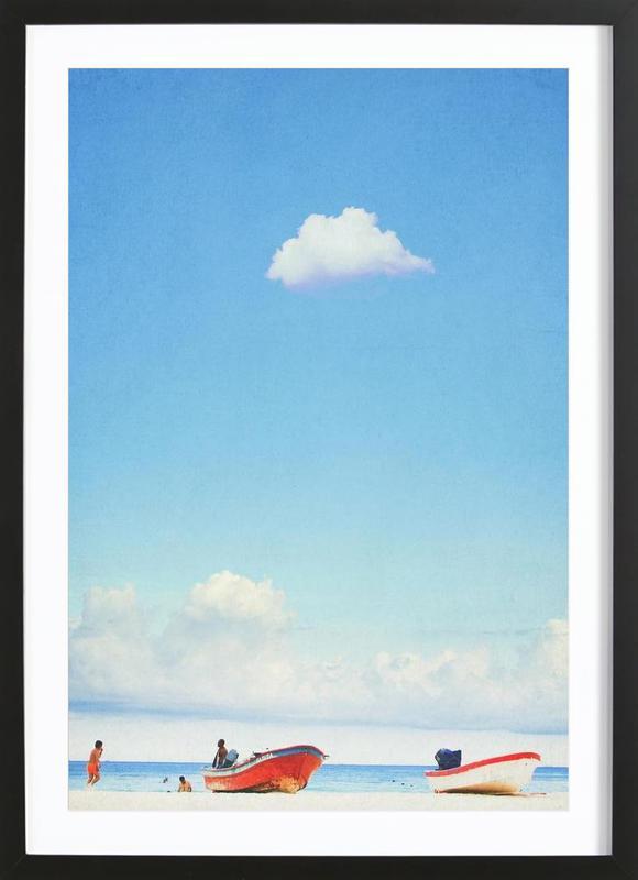 Mexico Beach affiche sous cadre en bois