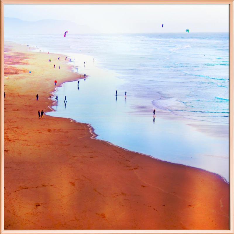 Ocean Beach California Winter Poster in Aluminium Frame