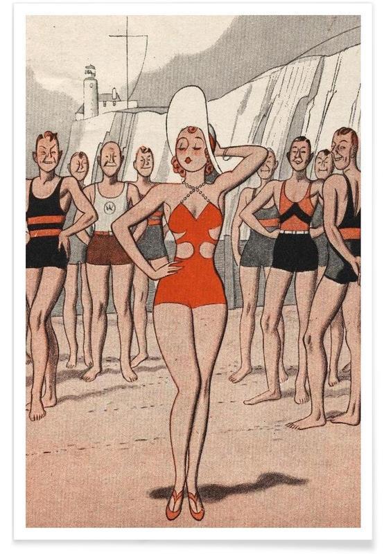 Vintage, ´30s Beach Lady affiche