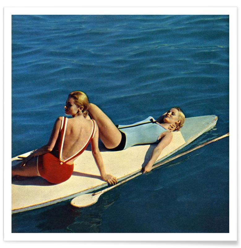 Surfing, Vintage, Tanning Boards Plakat