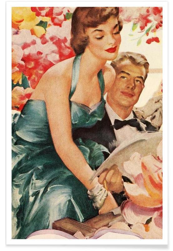 Couples, Vintage, Saint-Valentin, I love her affiche