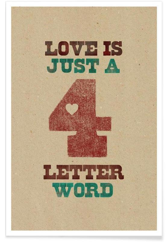Citations et slogans, four letter word affiche
