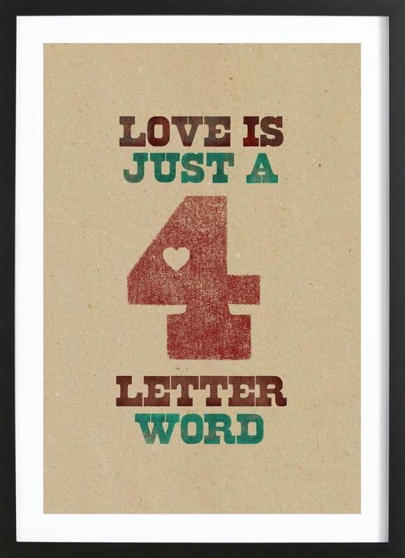 four letter word -Bild mit Holzrahmen
