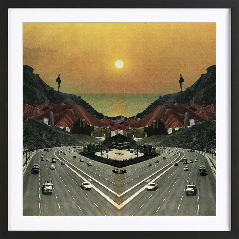 End Of The Road -Bild mit Holzrahmen