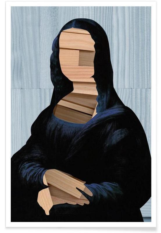 Mona Lisa – blue shining WoodCut Collage affiche