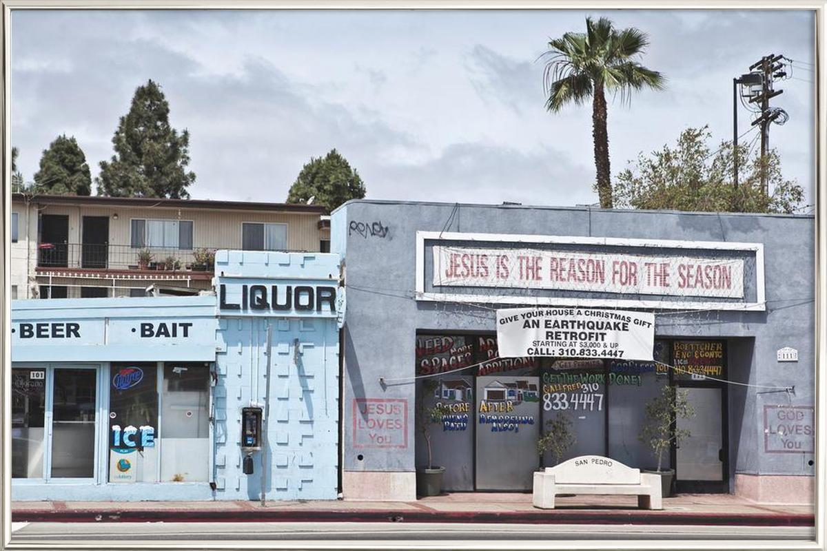 Liquor Store San Pedro Poster in Aluminium Frame
