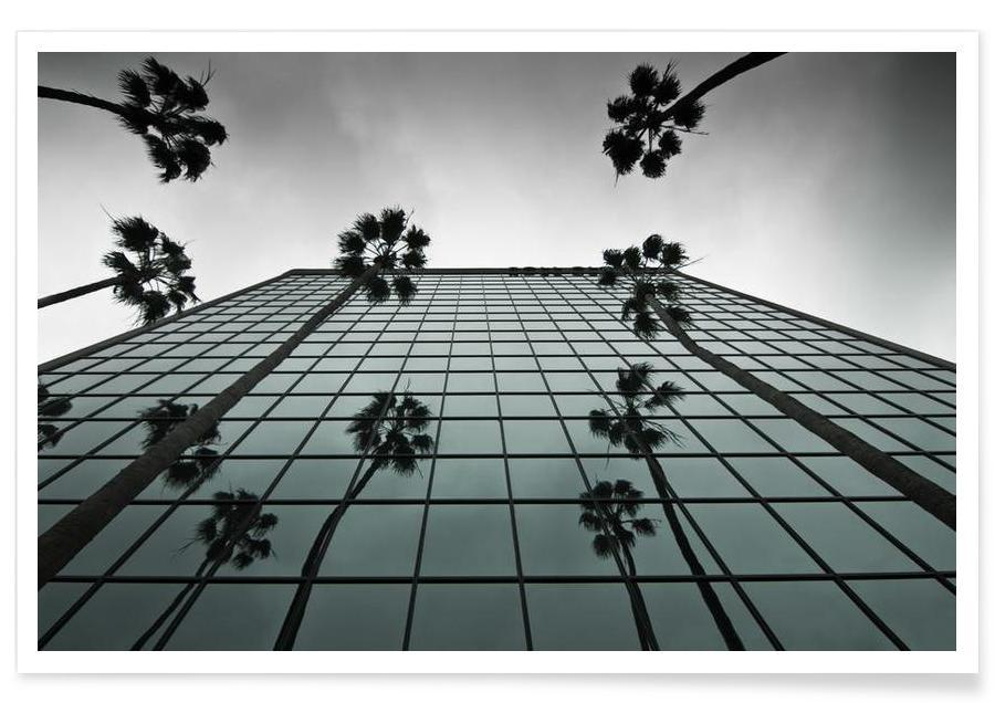 Architectural Details, Black & White, Skyscrapers & High-Rises, Reflections Poster