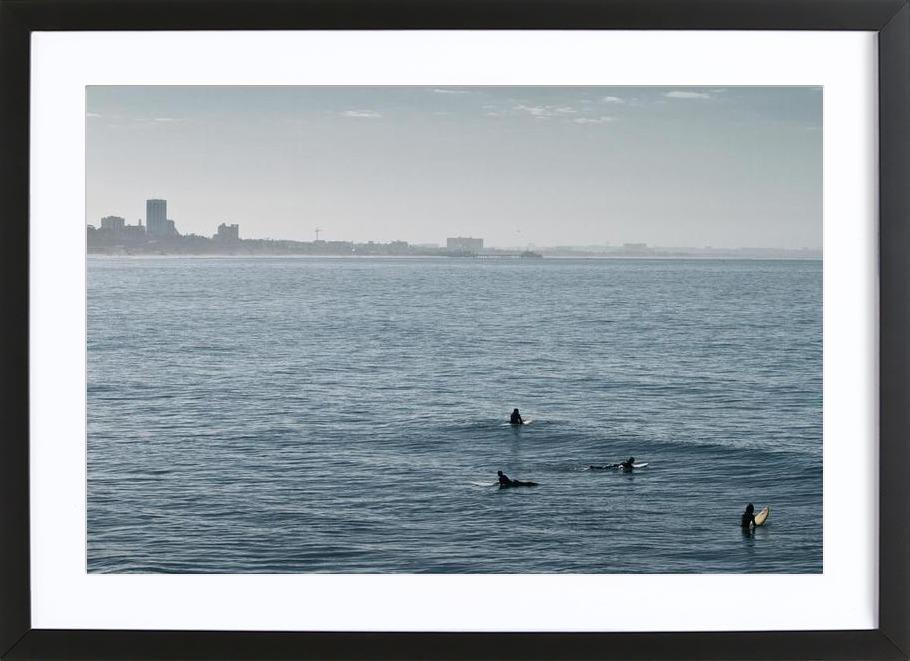 Early Morning Surfer's Bliss affiche sous cadre en bois
