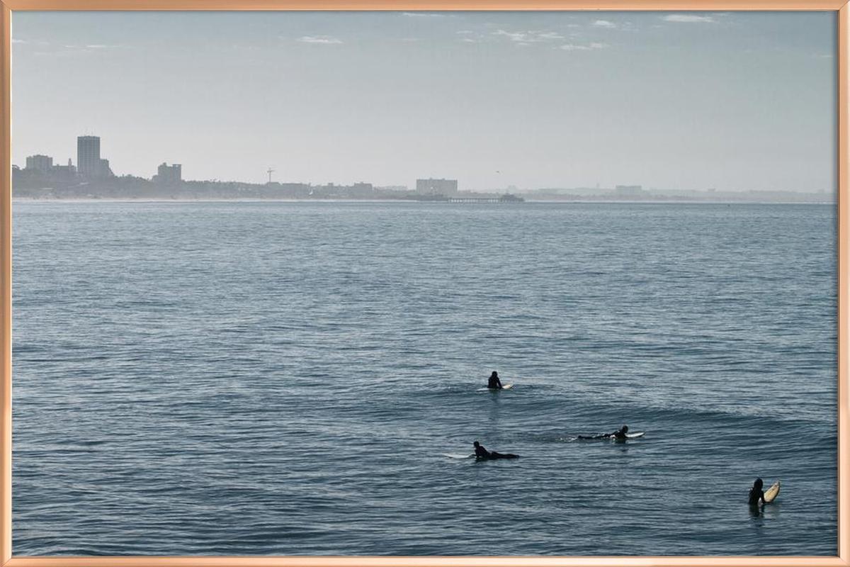 Early Morning Surfer's Bliss Poster in Aluminium Frame