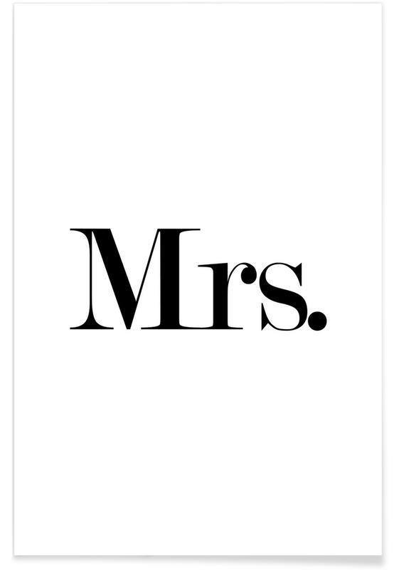 Noir & blanc, Citations et slogans, Mariages, Mrs. affiche