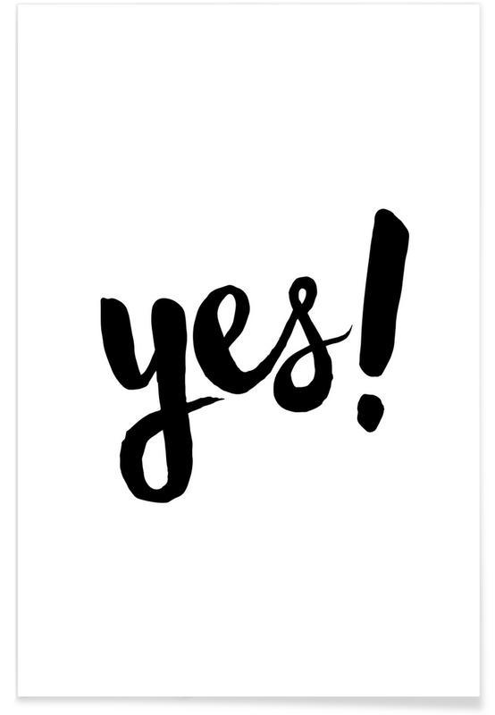 Zwart en wit, Trouwen en bruiloften, Quotes en slogans, Felicitaties, Yes poster