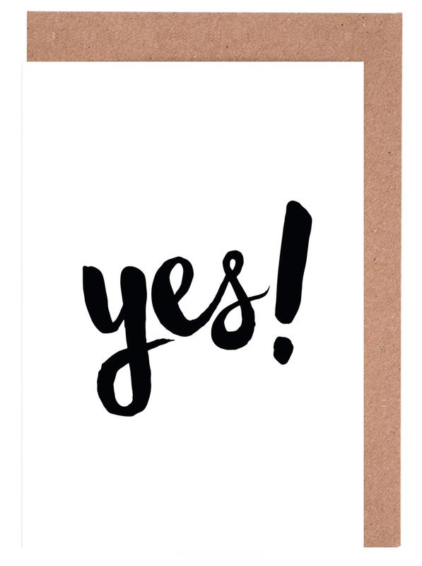 Weddings, Congratulations, Quotes & Slogans, Black & White, Yes Greeting Card Set