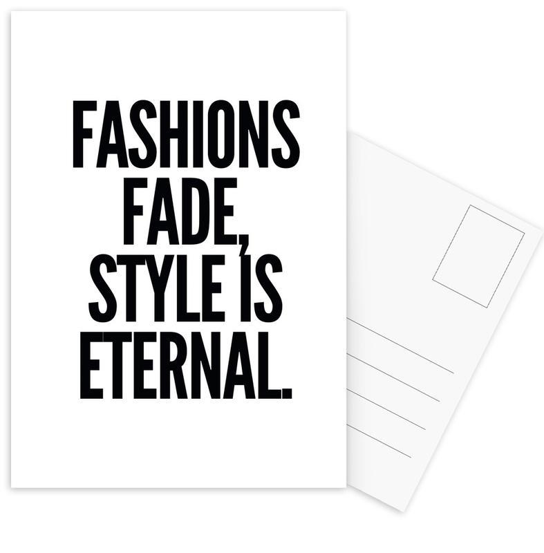 Black & White, Quotes & Slogans, fashion Postcard Set