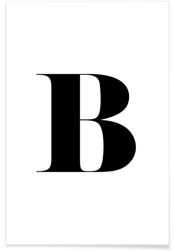 Alphabet et lettres, Noir & blanc, B affiche