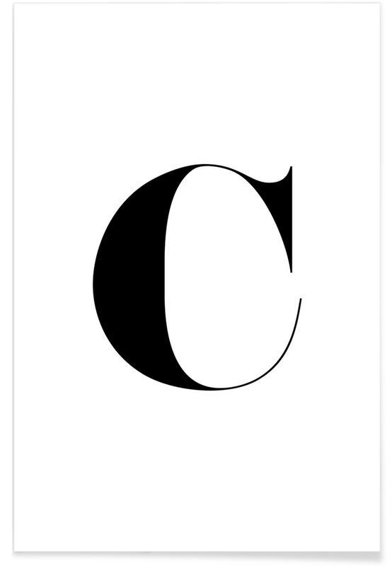Alphabet et lettres, Noir & blanc, C affiche