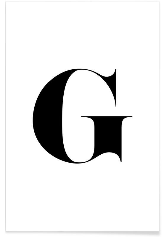 Alphabet & Letters, Black & White, G Poster