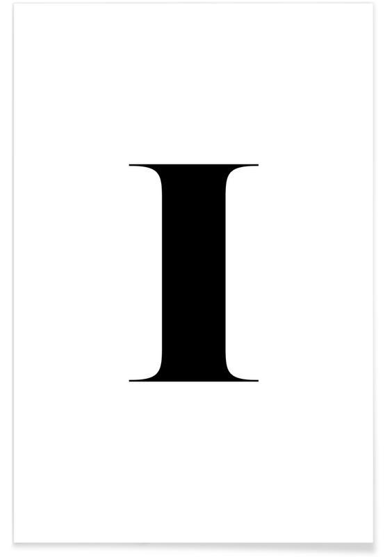 Alphabet et lettres, Noir & blanc, I affiche
