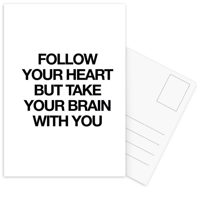 Black & White, Motivational, Quotes & Slogans, follow Postcard Set