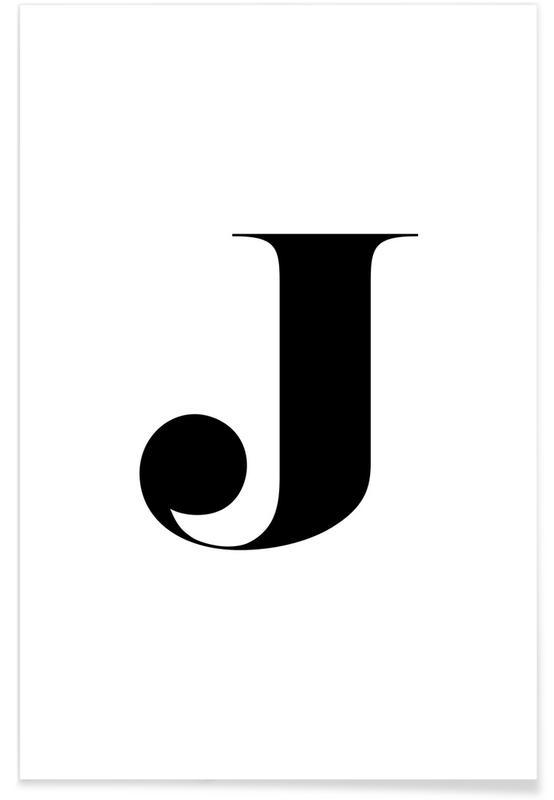 Alphabet et lettres, Noir & blanc, J affiche