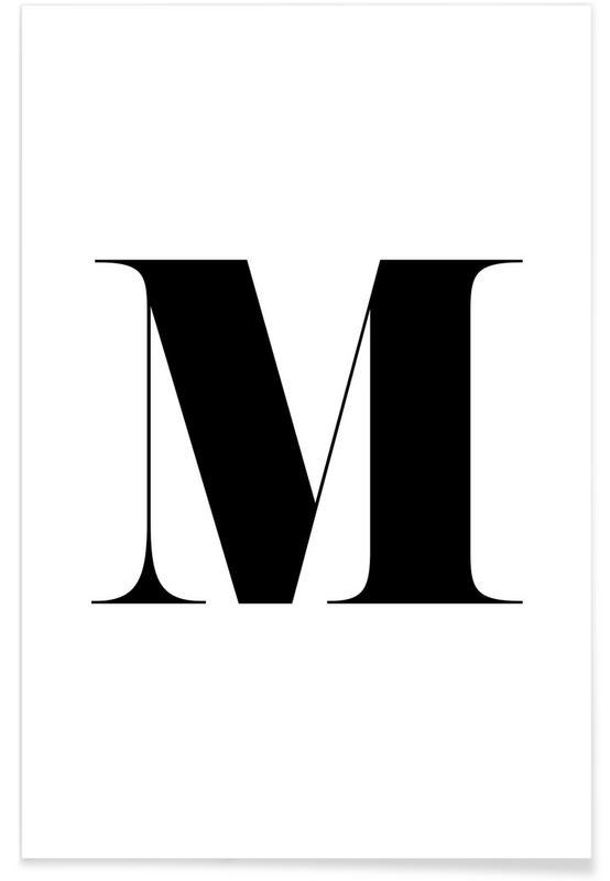 Alphabet et lettres, Noir & blanc, M affiche