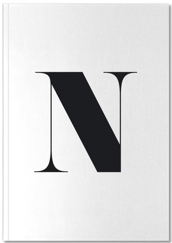 Alphabet et lettres, Noir & blanc, N Notebook