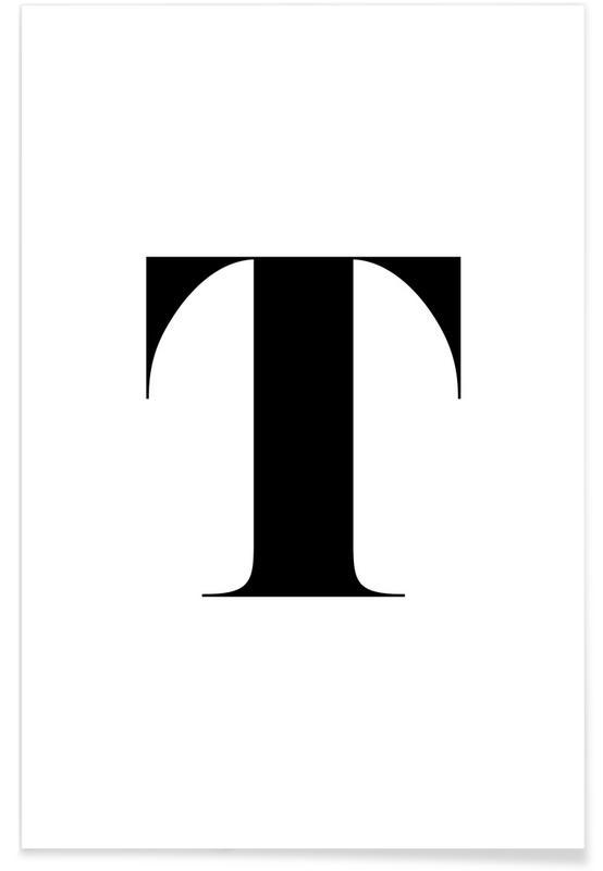 Alphabet et lettres, Noir & blanc, T affiche