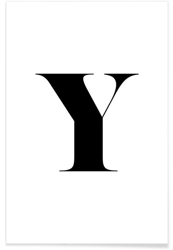 Alphabet et lettres, Noir & blanc, Y affiche
