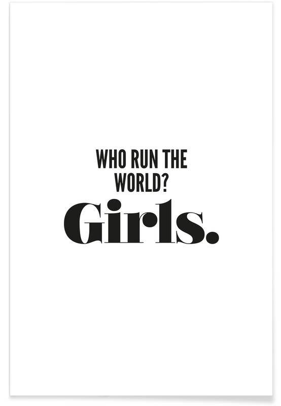 Sort & hvidt, Motiverende, Citater & sloganer, Run Girls Plakat