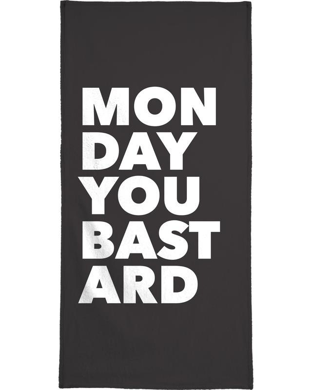 Black & White, Quotes & Slogans, Monday Bath Towel