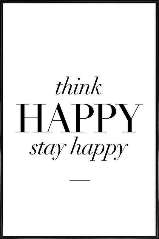 Think Happy ingelijste poster